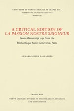 A Critical Edition of La Passion Nostre Seigneur
